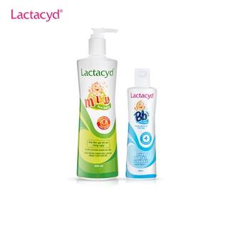 Combo Sữa tắm gội cho bé hàng ngày Lactacyd Milky 500ml Sữa tắm gội giảm rôm sảy và hăm kẽ Lactacyd BB 250ml