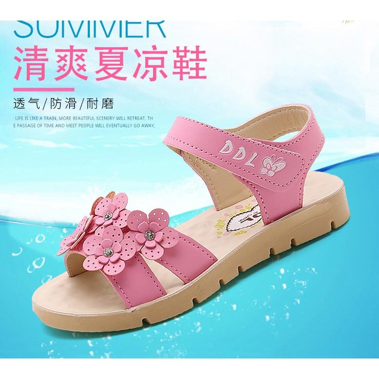 Dép sandal trẻ em đính họa tiết hoa dây đính tiện lợi cho bé
