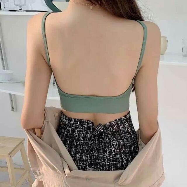 Áo bra nữ - áo bra len gân tăm chất đẹp 2 dây hở lưng siêu hot ABU2