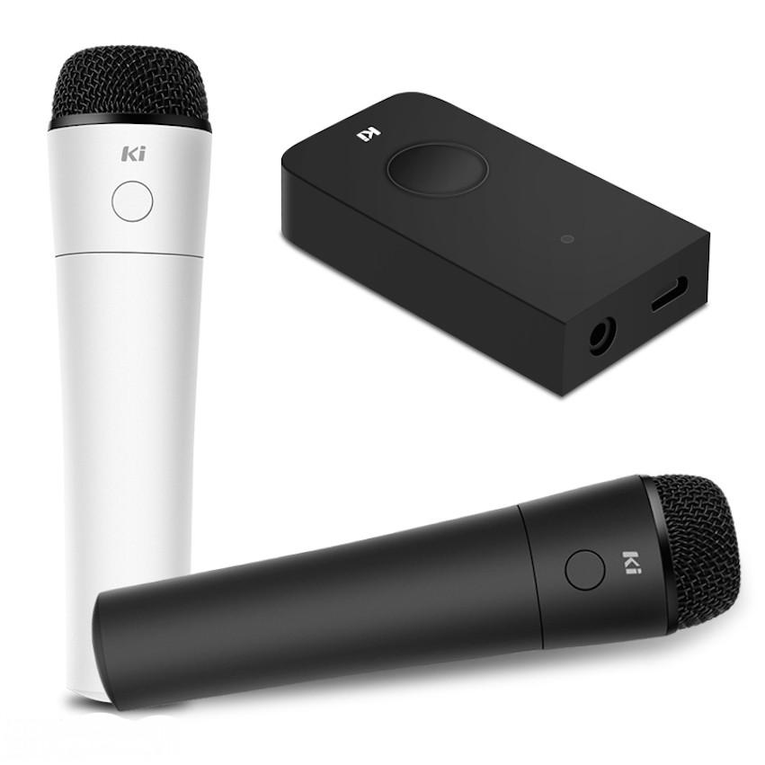Micro hát karaoke không dây KI MU008+ kèm mixer hỗ trợ bluetooth