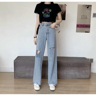 Quần jeans suông rách gối cạp cao đủ size S-M-L Nam Anh 24