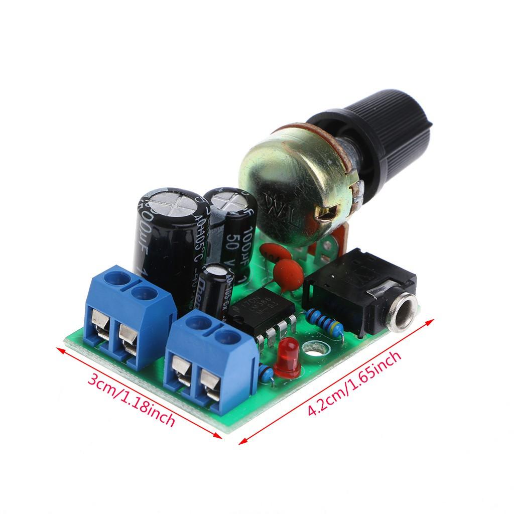 Bo mạch khuếch đại âm thanh mini LM386 điện áp DC 3V ~ 12V 5V
