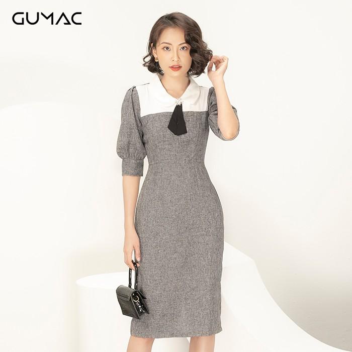 Đầm body phối đô trắng GUMAC DA904