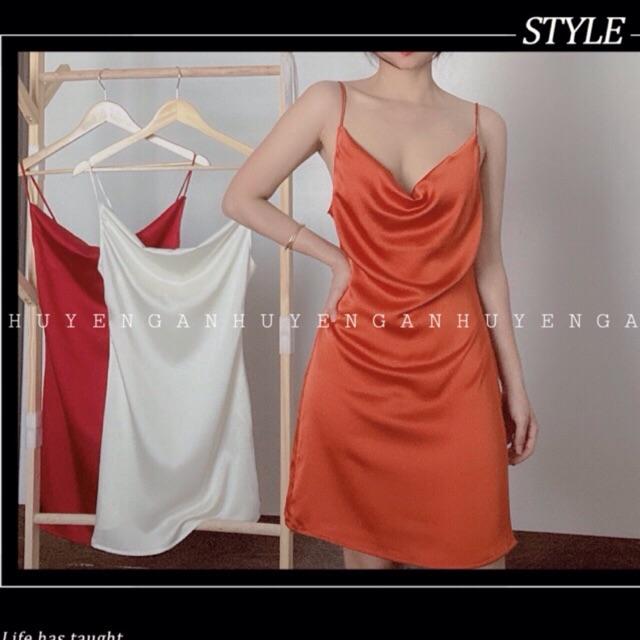 [Mã WA2720 giảm 20k đơn 150k] Váy Lụa Cổ Đổ - Ảnh Thật Tự Chụp