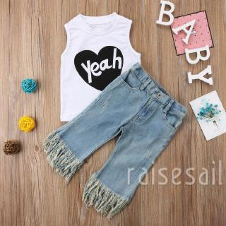 Rs♪-Cute Kids Baby Girls Yeah Letters Printed Sleeveless White T-Shirt Tassels Denim Pants 2pcs Outfits Sets*