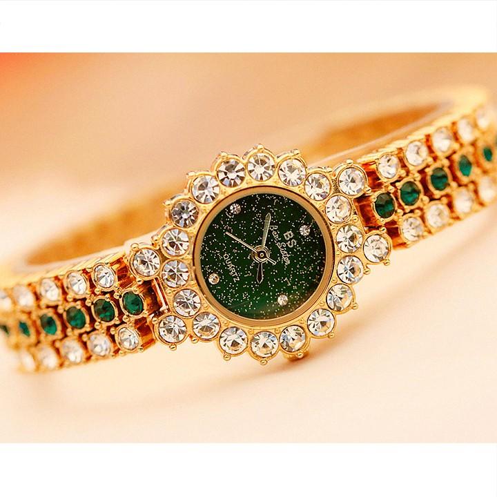 [Mã WTCHDEC giảm 20K ] Đồng hồ nữ BEE SISTER BS01 viền đá sang trọng sành điệu