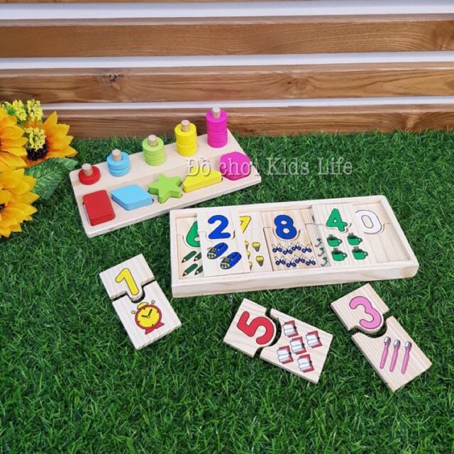 Combo bộ domino số và bộ xiên vòng 5 cột kèm hình khối Đồ chơi xếp hình, lắp ráp