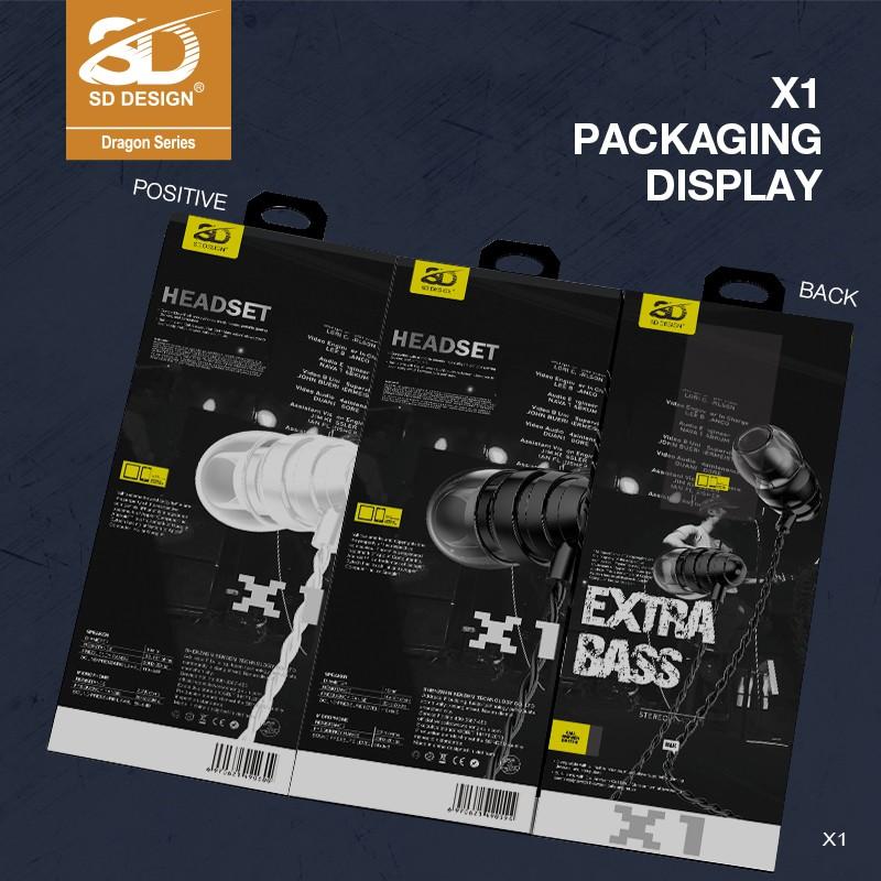 Tai nghe chính hãng SD DESIGN X1 cao cấp, jack cắm 3.5mm dành cho iphone, samsung, oppo, có mic, bảo hành 1 đổi 1