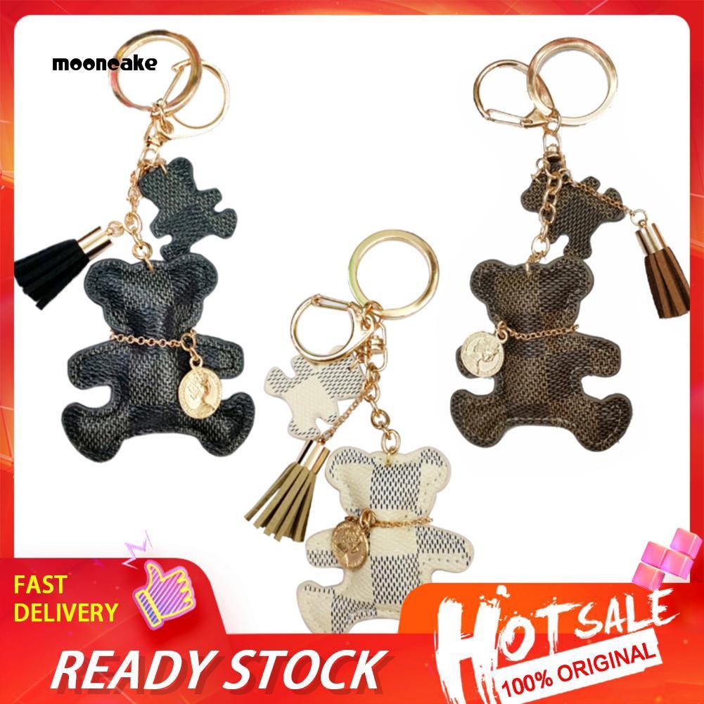 Móc treo chìa khoá túi xách hình chú gấu dễ thương bằng da cho nữ