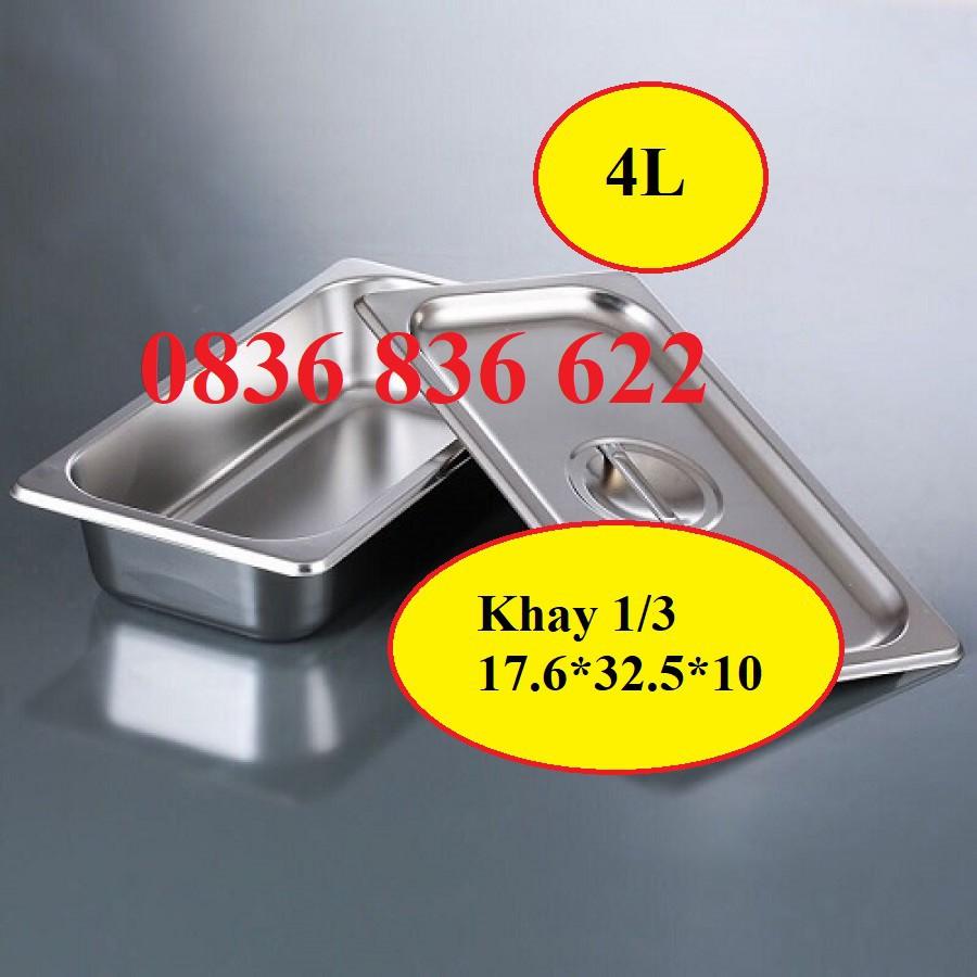 Khay đựng topping, đựng thạch inox 1/3 1/4 1/6 1/9 ( Đã có nắp )