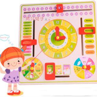 Đồ chơi Montessori đồng hồ học giờ thứ ngày tháng buổi thời tiết bằng Tiếng Anh
