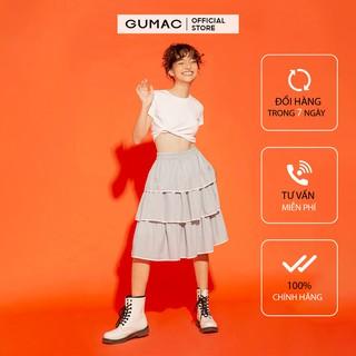 Chân váy nữ tầng viền trắng GUMAC màu xám, dễ thương năng động VA12159
