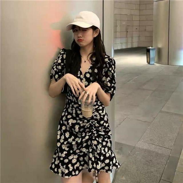 Đầm hoa cúc tay ngắn cổ V rút dây Daisy Dress | Đầm Hoa Nhí hot trend