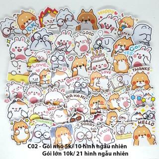 Sticker nhám cán mờ mèo cute dán trang trí planer, scrapbook,….size nhỏ 3-5cm
