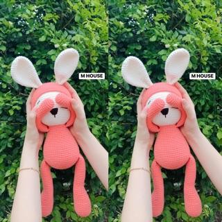 [Gấu bông an toàn cho bé ] Thỏ Len Handmde – gấu bông an toàn cho bé – gấu bông len – quà ý nghĩa