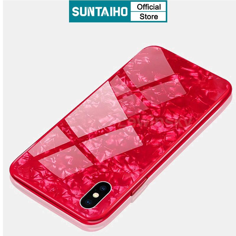 Ốp lưng cường lực Suntaiho phối hoạ tiết vân đá hoa cương sang trọng cho iPhone 12 mini SE 2020 11 Pro X Xs Max XR 6 6S 7 8 Plus