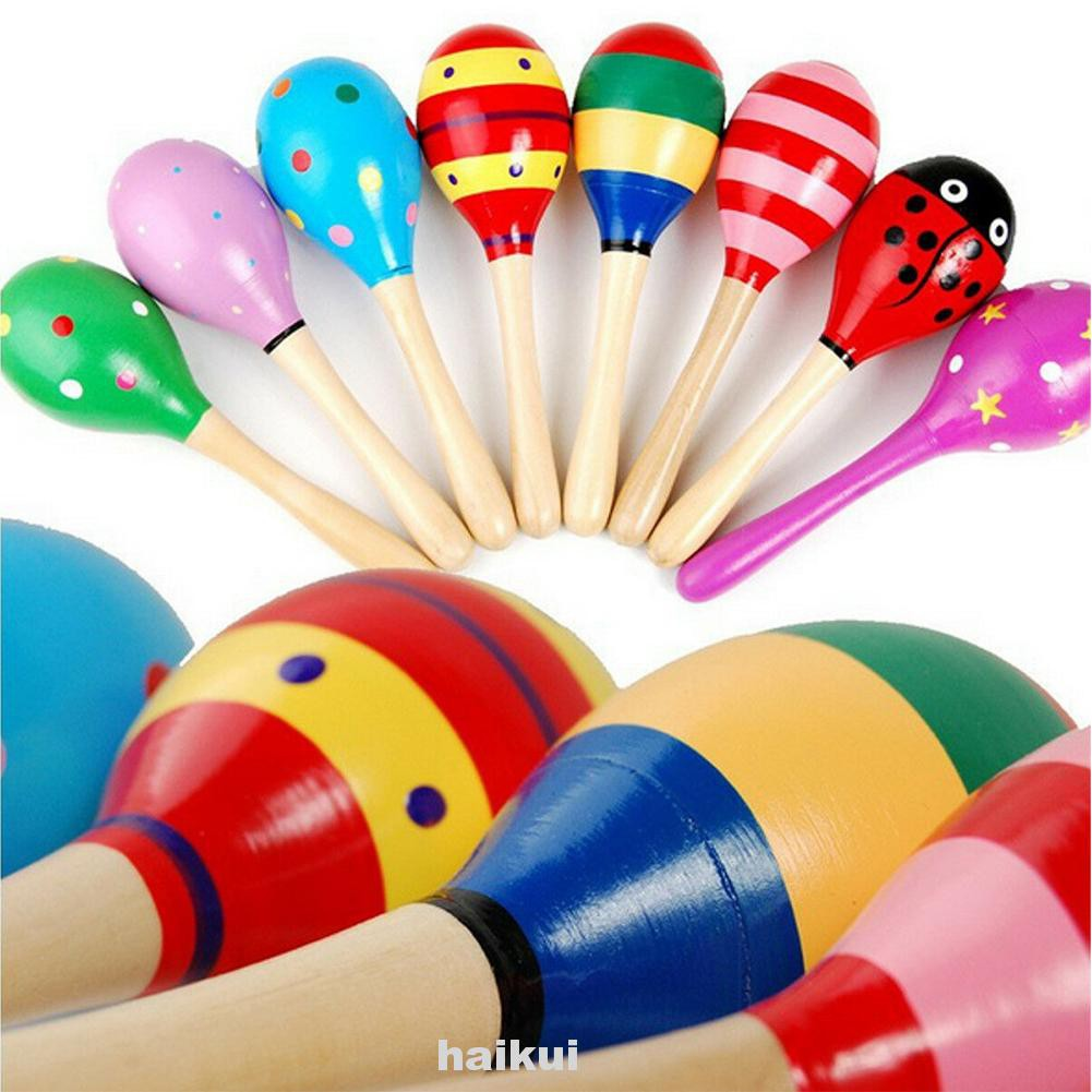 10pcs Party Musical Colorful Percussion Instrument Assorted Baby Toy Non Toxic Gift Wooden Rattle