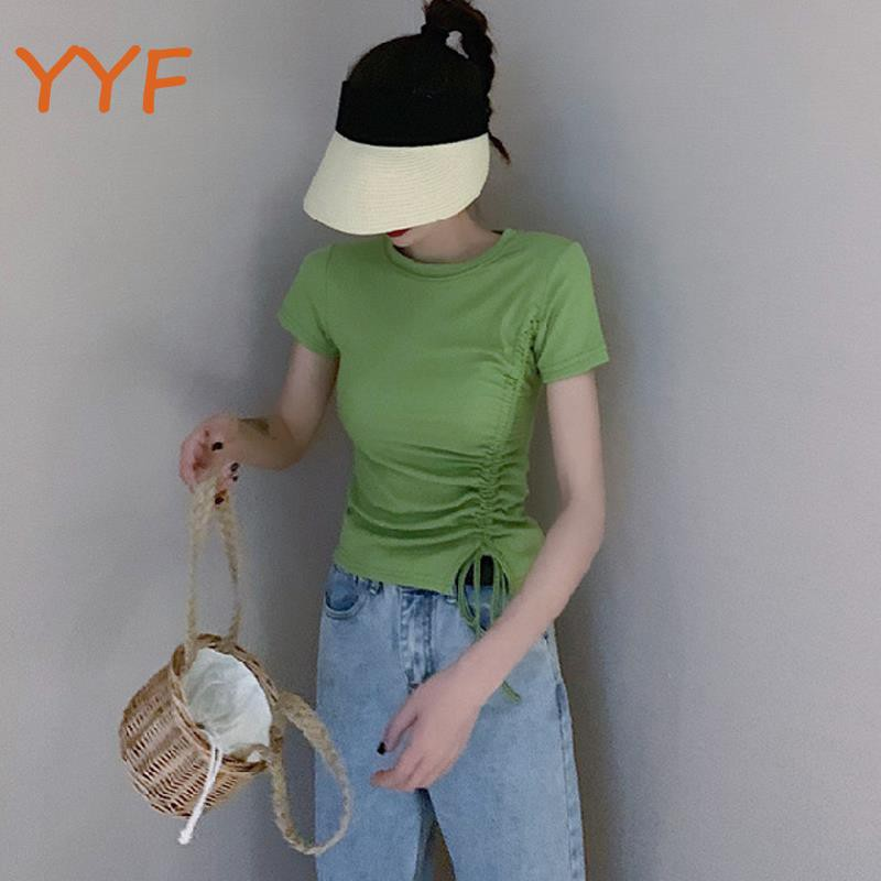 YF summer 2019 new women's slim slimming short section t-shirt green shirt bottoming shirt ins strange
