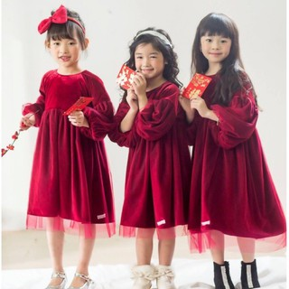 Váy bé gái nhung đỏ phối voan Lamm