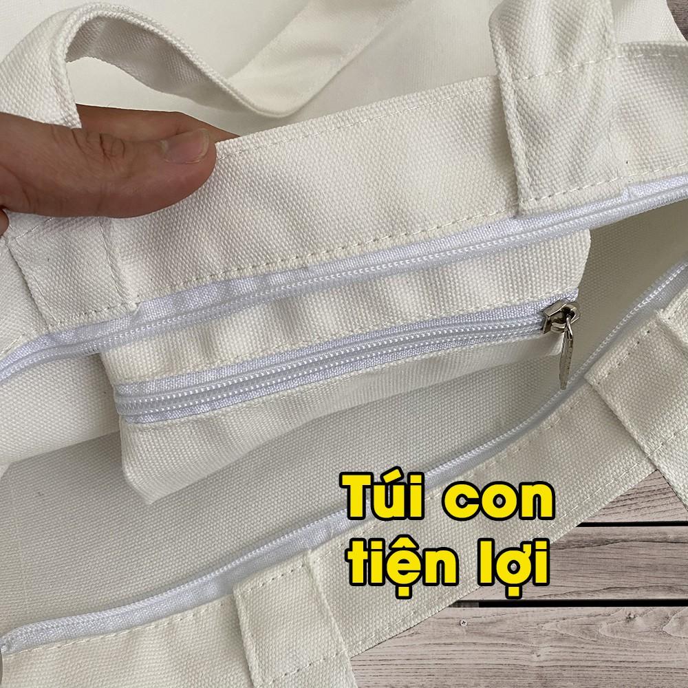 Túi tote đeo chéo vải bố CANVAS trơn có thể đeo vai thời trang AH1477-6D8