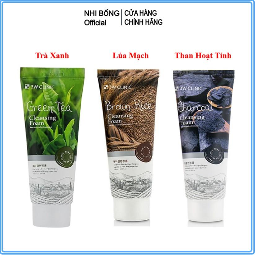 Sữa rửa mặt trắng da - sữa rửa mặt giảm mụn từ thiên nhiên 3W Clinic Hàn Quốc 100ml