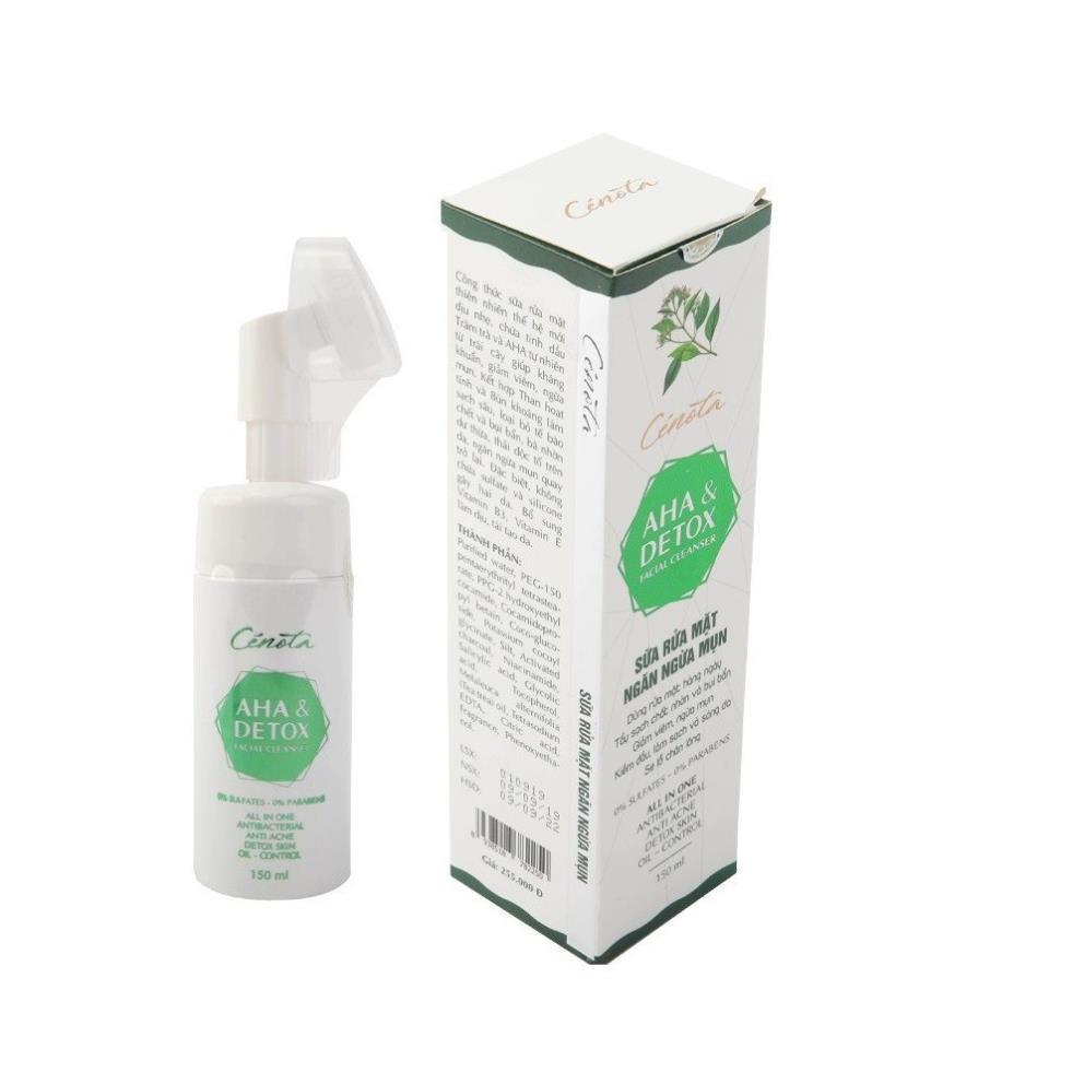 Sữa rửa mặt Aha & Detox facial cleanser 150ml, sữa rửa mặt giúp tạo bọt, kiềm dầu, ngăn ngừa mụn hiệu quả - mã C04