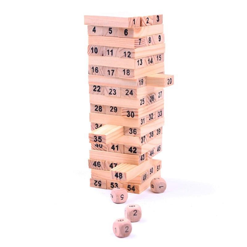 Set 54 khối Domino + 4 xúc xắc bằng gỗ đồ chơi giải trí