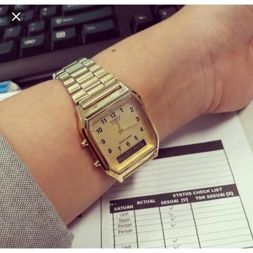 Đồng hồ nam Casio AQ-230GA-9BMQ Chính hãng - Dây kim loai - Mạ Vàng