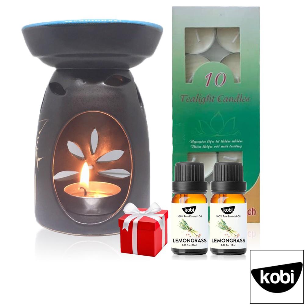 Đèn xông, đốt, khuếch tán tinh dầu Bát Tràng bằng nến Tặng 2 Lọ Tinh Dầu Thiên Nhiên Kobi + 10 viên Nến Tealight Sạch
