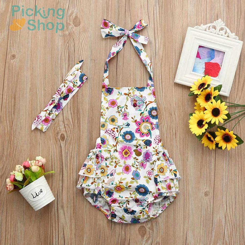 2pcs/set Infant Girl Summer Floral Sling Romper Headband Kid Outfit Clothes