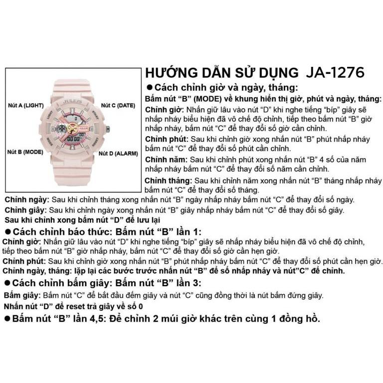 Đồng Hồ Unisex JA-1276B Julius Hàn Quốc Thể Thao (Trắng Kem)