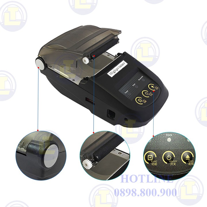 [Nhập ELCL40K hoàn 40K xu đơn từ 300K] Máy in nhiệt Bluetooth Highprinter HP-100