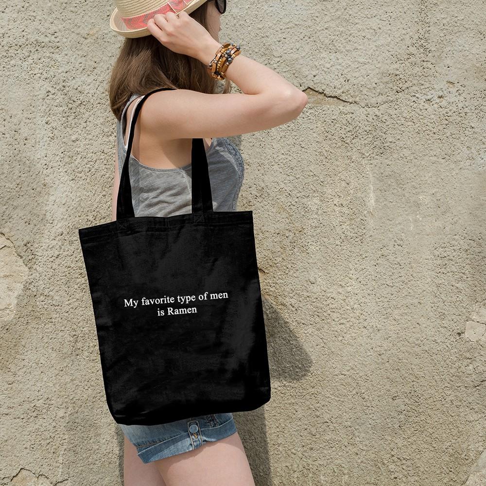 Túi Vải Tote Ginko Dây Kéo Phong Cách Hàn Quốc In Chữ Is Ramen B01