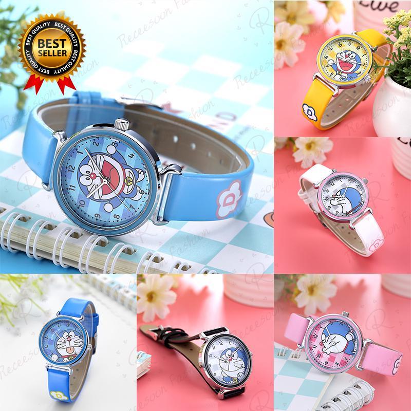 Đồng hồ thiết kế máy thạch anh có dây bằng da họa tiết Doraemon thumbnail