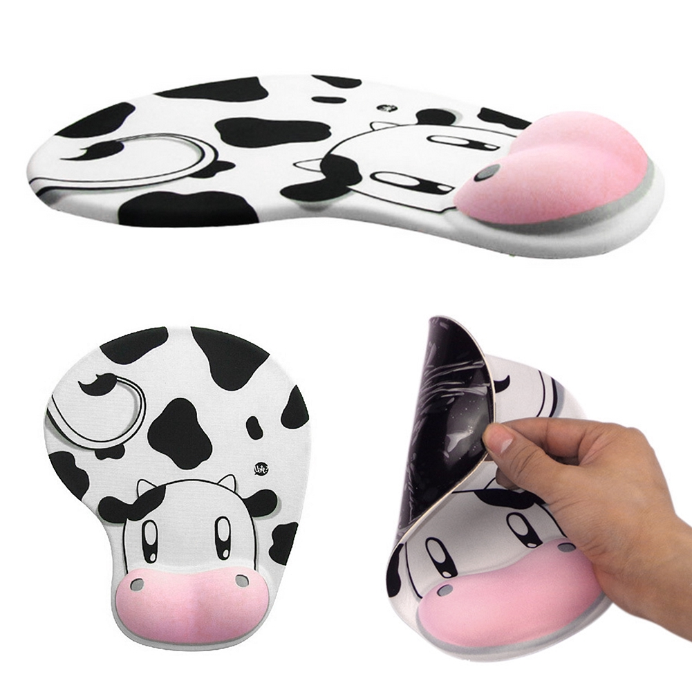 Lovely Cow Pattern Mouse Mat, Stereoscopic Mat with Wrist Pad Design Cute Silicone