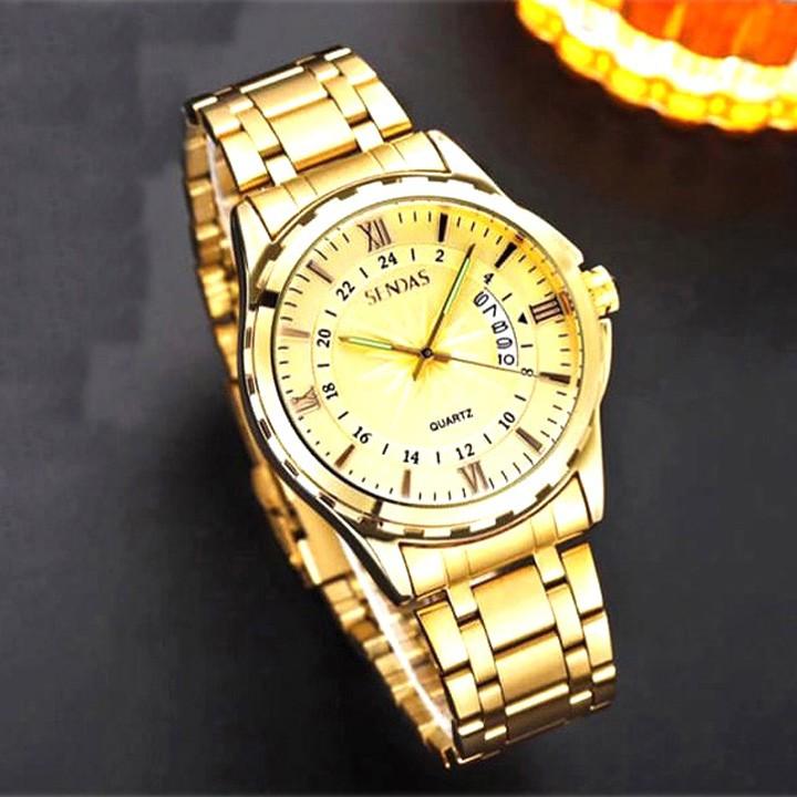 Đồng hồ nam Sandas vàng kèm ví da nam, kính mắt chống UV và dây thắt lưng da