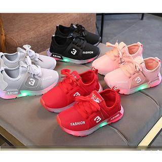 Mùa thu 2019 trẻ em mới Đèn LED giày bé trai và bé gái dạ quang giày thể thao fashion 3 chống trượt v2 [Mã 44]