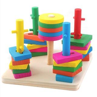 [BAO GIÁ SHOPEE] Bộ thả hình 5 cột khối – Đồ chơi giáo dục gỗ an toàn