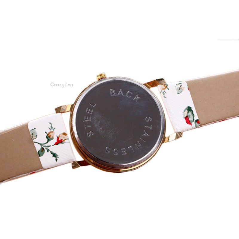 💗 Crazyi💗 Elegant Womens Lady Flower PU Quartz Analog Dress Wrist/LED Bracelet Watch