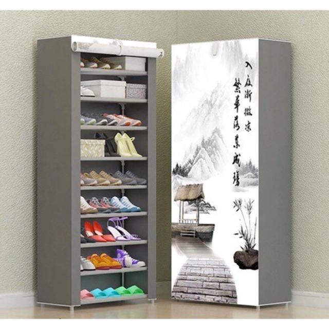 Peunyim-ชั้นวางรองเท้า ตู้เก็บรองเท้า ตู้ใส่รองเท้า ชั้นวางของ 10 ชั้น 30 คู่