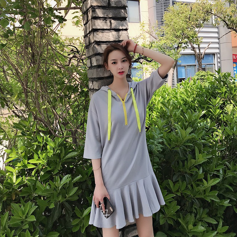 Medium long hooded sweater skirt Korean version of loose thin fishtail dress