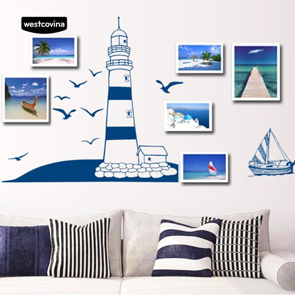 Giấy dán tường hình ngọn hải đăng và cánh chim xinh xắn