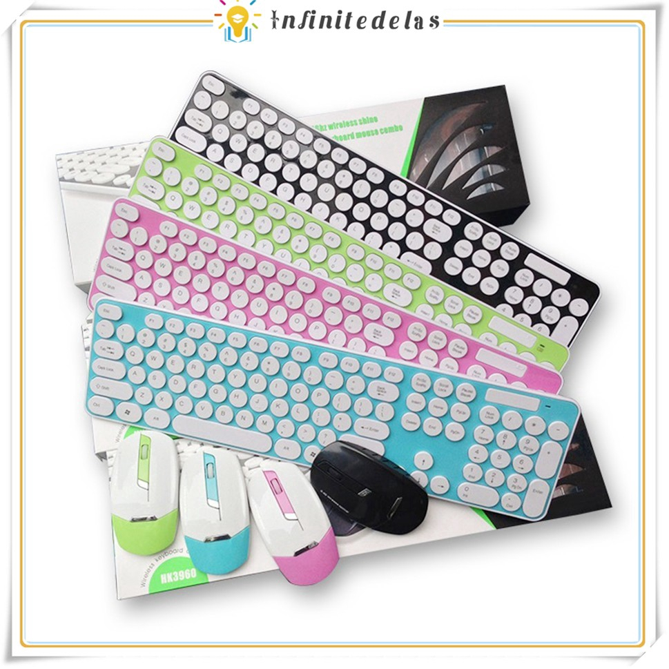 INFINITE 2.4G Colorful Round Button Gaming Keyboard Mouse Ultra Slim Wireless Mouse Keyboard Combo Giá chỉ 346.927₫