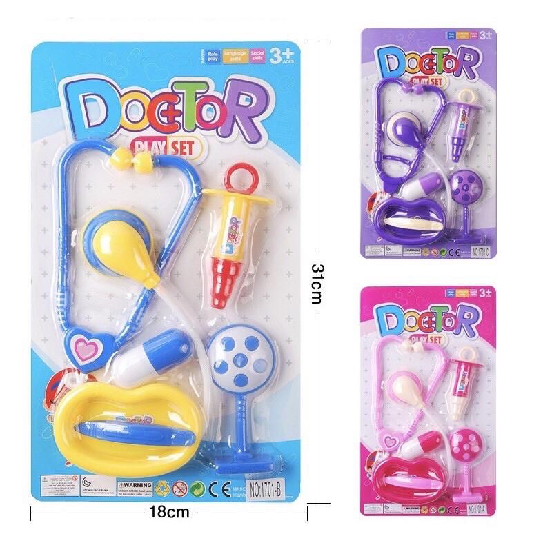 Vỉ đồ chơi bác sĩ nhiều chi tiết (màu xanh và màu hồng)