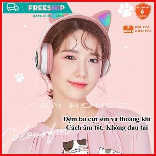 Tai Nghe Mèo Bluetooth Cao Cấp, Tai Nghe Không Dây Chơi Game Pin Trâu, Headphone Mèo Có mic, Chống Ồn, Đèn Led