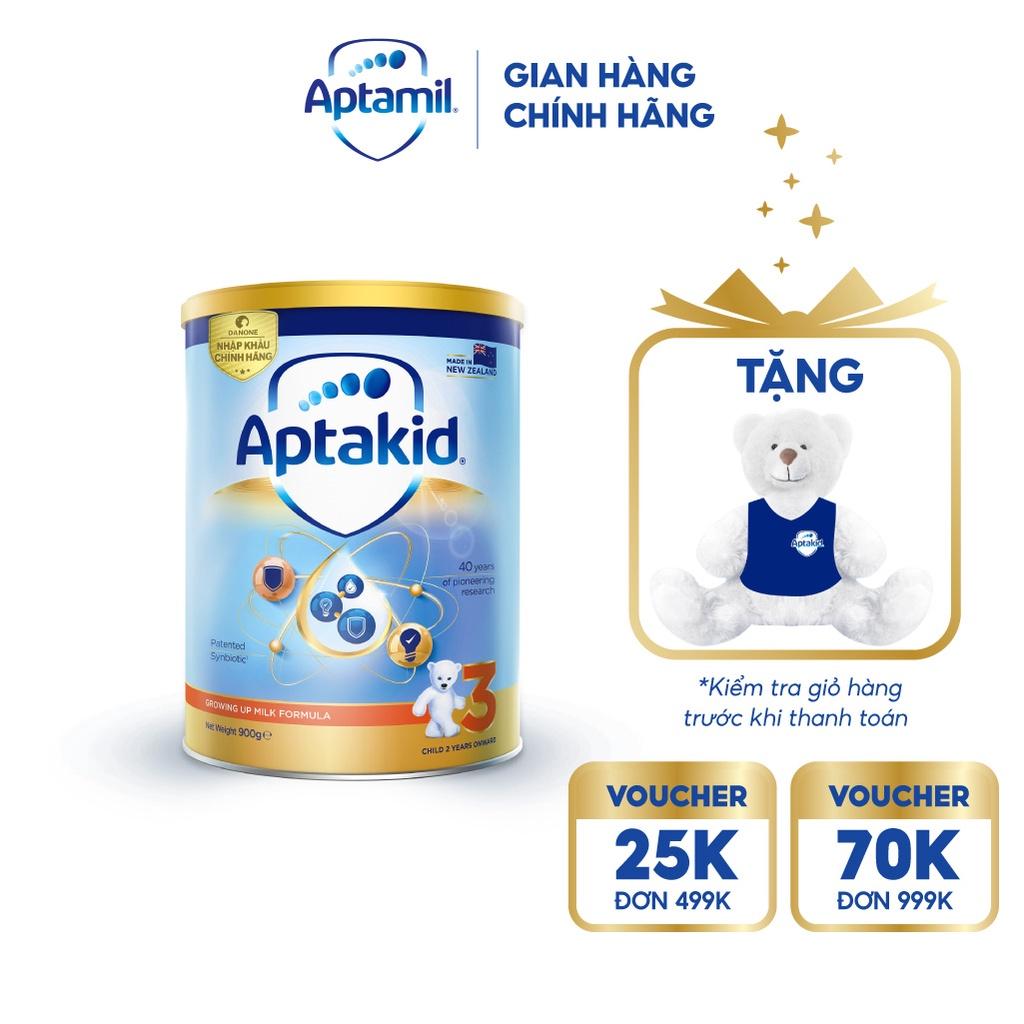 [Mã FMCGMALL giảm 8% đơn từ 250K] [Tặng Gấu] Sữa bột Aptakid New Zealand hộp thiếc 900g cho bé từ 24 tháng