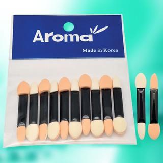 Cọ mút 2 đầu giúp trang điểm dễ dàng Aroma Sponge Applicator Hàn Quốc (10 thanh) thumbnail