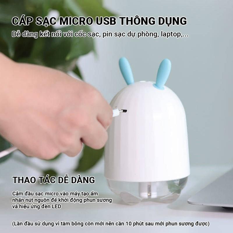 Máy tạo ẩm phun sương tai thỏ Cát Thái CNDB lượng sương phun ra lớn dung tích 220ml có đèn LED đẹp mắt yên tĩnh không ồn