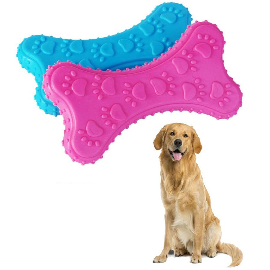 Xương chó gặm bằng cao su siêu bền (màu ngẫu nhiên) size 10cm đồ chơi cho chó tập cắn (chó dưới 20kg)