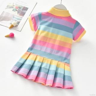 Đầm Công Chúa Cổ Polo Tay Ngắn Họa Tiết Hoa Cúc Nhỏ Màu Cầu Vồng Dễ Thương Thoải Mái Cho Bé Gái 2-6 Tuổi Lok02638